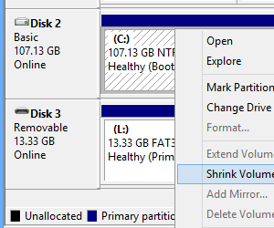Windows Disk Management, shrinking a volume