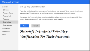 "At last, Microsoft has also added two-step verification to Microsoft accounts that means it includes Windows Live, the account.Customers use to sign in to services such as Outlook.com, Messenger and Sky-Drive, and to sync settings between devices which save your account from misuse.       The Two-step verification is a very important security feature which was first introduced in Google then in Facebook.Now at last in Microsoft, these security feature can protect your account from the third party user even though if they got your id username and password they can't access your account.This is the main feature of this security.And recently,this feature is added for Apple IDs.  The person who is using this will also be able to designate some devices as ""trusted devices,"" so they won't have to use two-step authentication every time they log in from their phone or PC   Once you've enabled it, you'll be asked to enter an additional piece of information about your phone,some question which is not regarded with your name.For example if you given your mobile number,then they send a code to your phone. Microsoft also offers an authentication app for Windows Phone.By this it allows the users to receive the two-step verification code even when they are in offline.  You can't use the same code for the same device.The code will change for different device.But in Microsoft it will ask a code if you don't use the device for max 60 days.I think so that this will be very useful for the user to protect their data's.Share your thought in comments!"