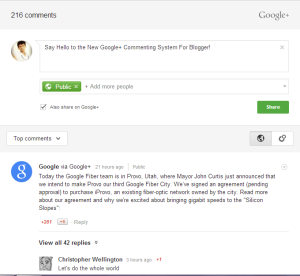 "By the Way,Blogger Users got a New Commenting Widgets for their Blog.This was announced by Google.Today Google announced that bloggers can now enable a new Google+-powered commenting system for their sites who are using the Blogger platforms.From this you can understand that Users who are using the Blogger can use Google+  as a commenting site,and the comment from the Google + will automatically added into their blogs.This is the main feature of it.But this system was already enabled by Google on all official blogs.     The Google says, will enable bloggers to ""see activity from direct visitors, and from people talking about your content on Google+."" For these purpose this new commenting system was introduced. This is very useful for discussion, where the comments are stored in one place.  The comment widget looks quite nice.It is easy to use.Just like Google+, this commenting system doesn't allow for nested comments.You can take a look on it Here.  Google thought that this new system will make life easier for readers as well as for the commentors  They will get the option to comment publicly – or privately to their circles on Google+. And by the way,the comment published will be seen by both Owner and by the publisher.Don't worry about the old comments.It will be imported into the new Google+ Commenting system.  Google slightly want to use this to compete with Facebook comments,which was launched in 2009.However it is not our problem.Let's see how to use this new Google+ Commenting System in Blogger.   How to Get it ?  It is easy to enable it in your blog.Blogger users simply have to flip a switch in their Blogger Dashboard. That's it! Enjoy!  After installing it share your thought in comments!"