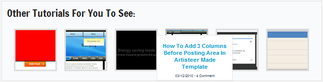 Related post widgets bellow your blogger post is an awesome gadget for blogger because it'll surely increase your blog traffic in the way of internal traffic.Today I'm writing regarding a way to add awe-inspiring related post widget for blogger. And this Awe-Inspiring widgets have hover impact with variety of comments. It look stylish and attract the visitors to check it ! Let's see how to add it in your blog. How to add Awe-Inspiring Related post widget ?  First Log in to your Dashboard >> Template >> Edit HTML  Search  for ]]></b:skin>  by using ctrl+F After searching paste the following code given bellow just paste it before ]]></b:skin> /*Awe-Inspiring Related post widget*/ #related-posts{ float:left; height:160px; margin-bottom:10px;  outline: 1px solid #fff; border: 1px solid #ddd; background: #f9fafb; } #related-posts h3{     font-family: Francois One;     font-size:20px;     font-weight:400;     color: #222222;     margin-bottom: 0.5em;     margin-top: 0.5em;     margin-left: 0.5em;;     padding-top: 0em; } #related-posts ul{ margin:5px; width:613px; padding-left:17px; list-style:none; display:block; } #related-posts ul li{ list-style:none; position:relative; float:left; border:0 none; margin-right:11px; padding:2px; width:86px; }  #related-posts ul li:hover{z-index:100} #related-posts ul li:hover img{border:3px solid #BBB}  #related-posts ul li:hover div{ font-size:7px; text-transform:capitalize; position:absolute; top:20px; left:-15px; margin-left:0; width:130px } #related-posts ul li img{ border:3px solid #DDD; width:80px; height:80px; background:#FFF; display:block; } #related-posts ul li div{ position:absolute; z-index:99; margin-left:-999em } #related-posts ul li .title{ text-align:center; border:1px dotted #CCC; background:#fff; padding:5px 10px } Then again search for <data:post.body/>  Once you finished searching it paste the following code bellow  <data:post.body/>  <b:if cond='data:blog.pageType == &quot;item&quot;'> <div id='related-posts'> <scri