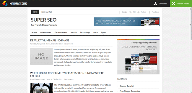 Demo Page with Download/Demo Buttons Toolbar on Blogger
