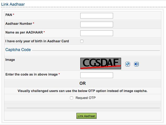 Link Aadhar card to PAN Card